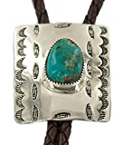 $280Tag Certified Feather Navajo Leather Nickel Turquoise Native Bolo Tie 24488-4 Made by Loma Siiva