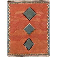 Rug Source Geometric Diamond Shape 5x7 Kilim Qashqai Hand Woven Persian Area Rug For Dining Room (6 9 x 5 3)