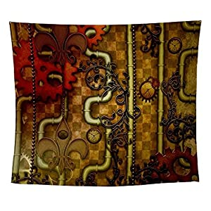 CafePress – Steampunk Design, Clocks and Gears with Floral Ele – Wall Tapestry