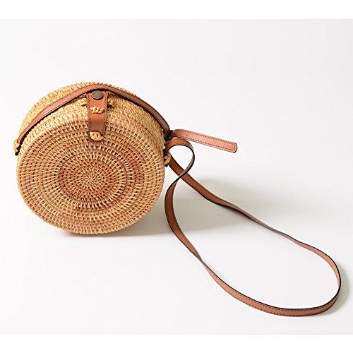 Bag Women 8cm Regular Basket Bag Crossbody Hand Bag Summer Weave Bag Woven Bag Rattan Bag Bag for Howoo Weave Design Girls Round Beach Handmade 20 Bag Shoulder Flower Straw Circle Regular p4wYqax16A