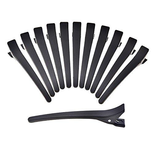 Pangda 4.33 Inch Barrette Hair Clips Plastic Duck Teeth Bows Crocodile Hair Clip Black, 12 Pack
