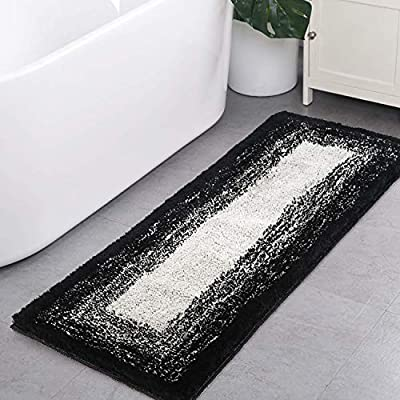 BathRugRunner, HAOCOO Banded Ombre Black Bath Mat Non-Slip 18x47 inch Long Bathroom Rugs Water Absorbent Soft Luxury Microfiber Machine-Washable Bath Floor Rugs for Tub Shower - ULTRA SOFT TOUCH MATERIAL: 100% Microfiber. Plush area rug ensures a very comfortable feel, it is definitely soft to touch. Height of the fibers: 1.2 inch/3cm. Especially soft and thick microfibers relieve pressure of your feet after a whole day work. WATER ABSORPTION: Microfiber bath mat is designed to absorb water efficiently to dry your feet ensuring you of a floor that is quickly dry and clean. With this thick bath mat, never worry about excess water on the floor. ANTI-SLIP BACKING:Non slip bottom is made of 100% environmental thermoplastic rubber. This feature allows the rug to stay in place despite wet conditions, thus providing protection for your family and increasing safety whenever it is used. - bathroom-linens, bathroom, bath-mats - 51tt9ZMxnjL. SS400  -