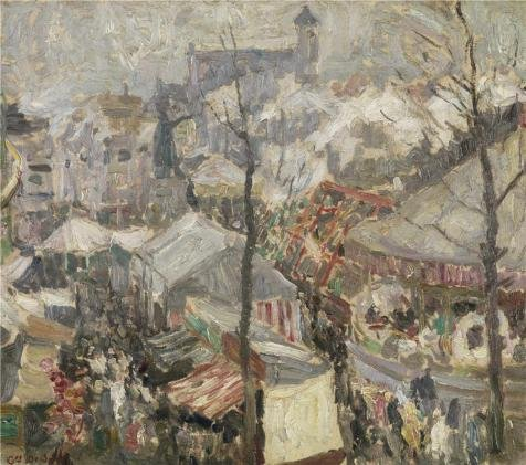 The Perfect Effect Canvas Of Oil Painting 'Gustave De Smet - Fair On Vrijdagmarkt In Ghent,1907' ,size: 18x20 Inch / 46x52 Cm ,this High Quality Art Decorative Prints On Canvas Is Fit For Bar Decoration And Home Gallery Art And Gifts