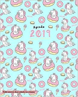 Agenda 2019 Semanal y Mensual, Modelo unicornio, donas y ...