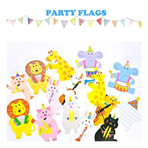 Streamers Confetti - Cartoon Animal Garland Striped Paper Flags Banner Decor Birthday Party Pack 2m Happy Family Baby - Streamers Banners Streamers Confetti Shower Baby Banner Birthday Heart Ba ()