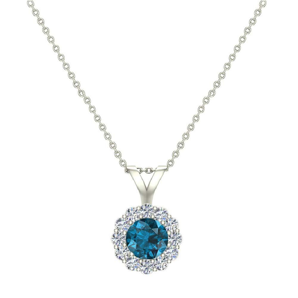 I,I1 Blue Diamond Halo Pendant 14K Gold Necklace 1//3 ctw Glitz Design GDHP1011