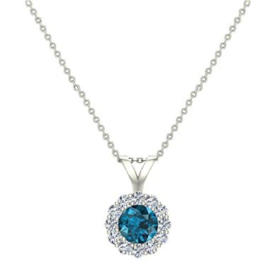 644e9342d Amazon.com: Blue Diamond Halo Pendant 14K White Gold Necklace 1/3 ctw:  Jewelry