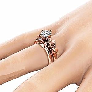 YJYdada Ring, New Women Silver & Rose Gold Filed White Wedding Engagement Floral Ring Set (6)