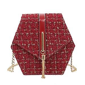 Wultia - Bags for Women 2019 Women Messenger Bag Shoulder Bag Chain Wool Tassel Small Square Bag Bolsa Feminina Red