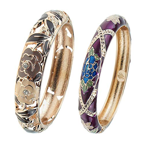 Hinge Enamel - UJOY Vintage Cloisonne Bracelet Beautiful Flower Enamel Hinge Gold Plated Bangles Jewelry for Women's Gifts 88A10-55A128 Rose Black-Purple