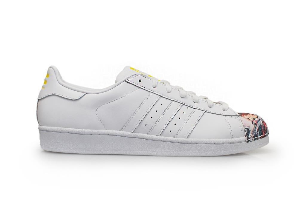 adidas Herren Sportschuhe  46 EU|White-Scarlett Stripe-White Sole