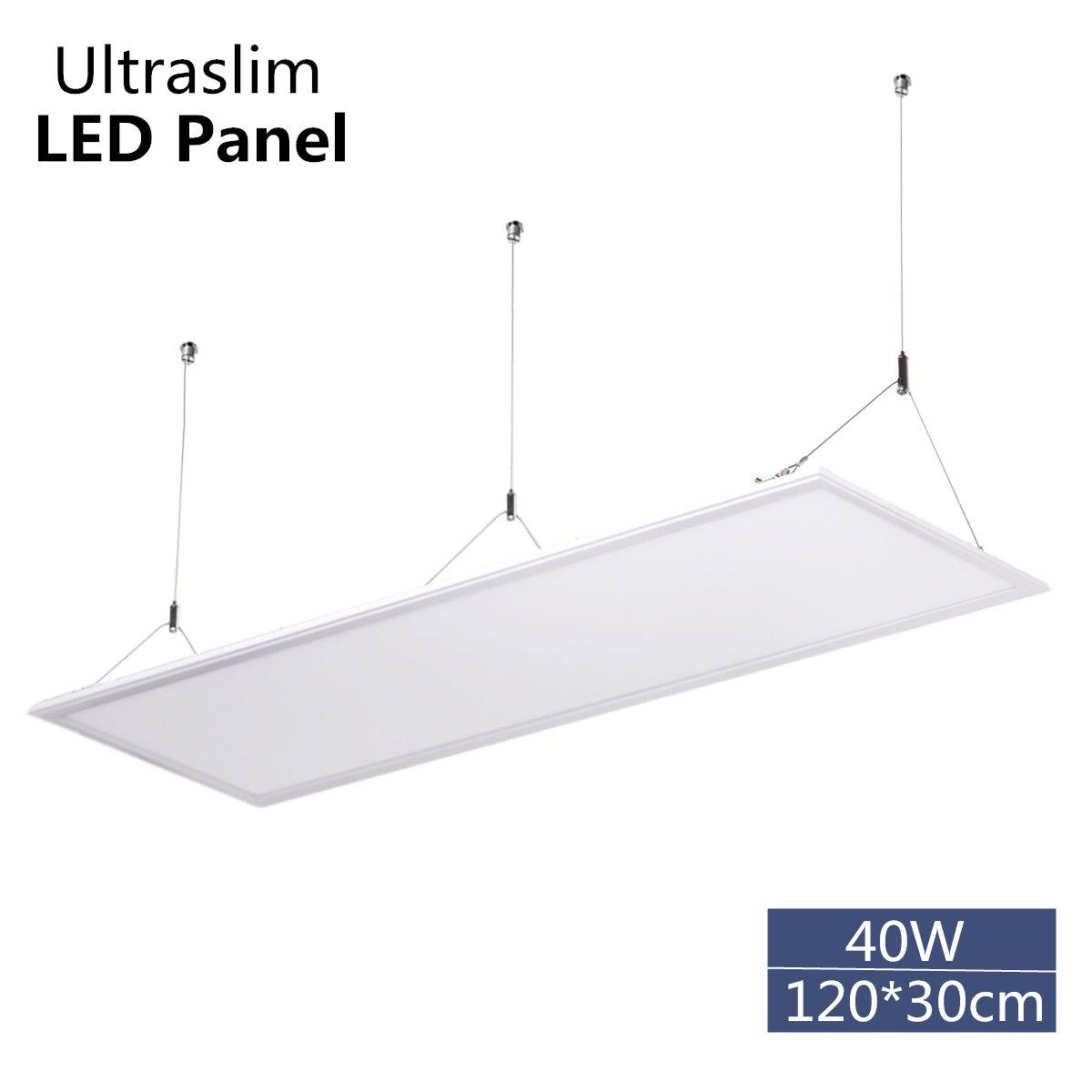 Panel LED Lámpara de techo LED de luz 40W 120x30cm Ultra-delgado Plafón led Lampadas de techo para comercios oficina Blanco natural 4000k Marco blanco: ...