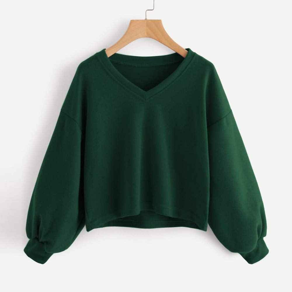 Amazon.com: Sunhusing Fashion Womens Solid Color V-Neck Lantern Sleeve Sweatshirt Short Pullover Tops: Clothing