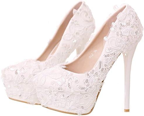 Amazon Com Sparrow White Lace Round Toe Ribbon Bow Wedding Shoes