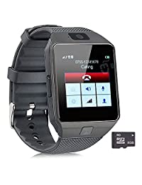Pandaoo Smart Watch Mobile Phone Unlocked Universal GSM Bluetooth 4.0 8GB Storage Music Player Camera Calendar Stopwatch Sync with Android Smartphones(Black)