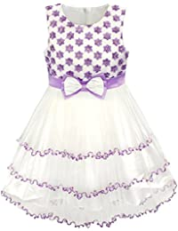 Girls Dress Purple Flower White Tulle Pleated Wedding Party