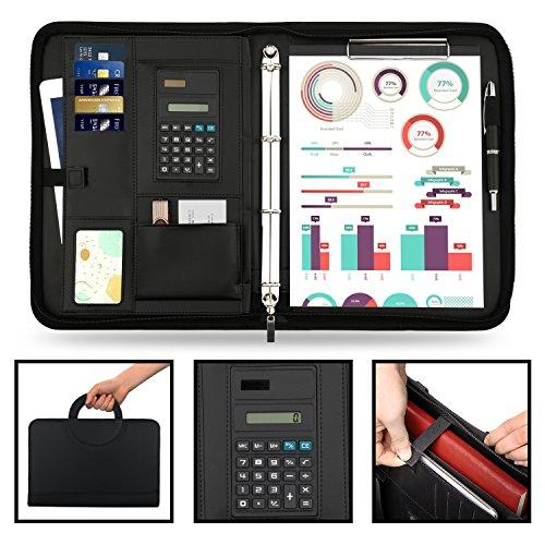 wilbest® porte documents en cuir multifonctionnel dossier de conférence de A4 avec la calculatrice et les poignées… 2