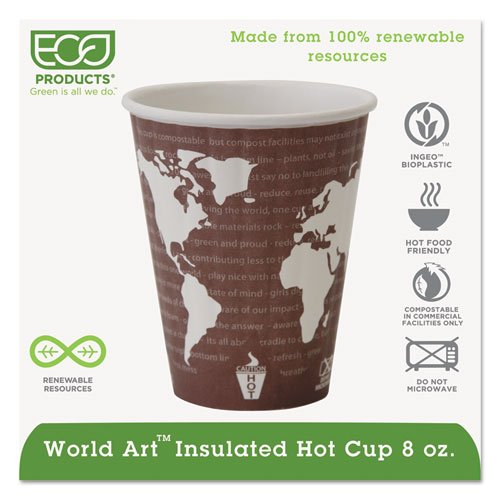 Eco-Products World Art Insulated Hot Cups, 8 oz., Maroon/White - Includes 800 cups.