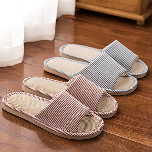 LYMMC House Slippers,Women's and Men's Cotton Causal Soft Slippers Anti-Slip for Indoor and Outdoor (Blue) by LYMMC (Image #6)