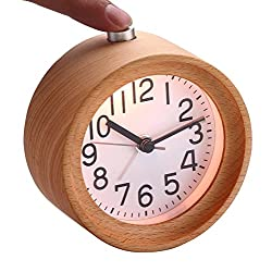Classic Handmade Portable Simple Round Wooden Silent Table Snooze Alarm Clock with Nightlight