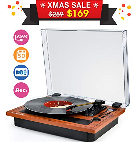 Turntable Vinyl Record Player Wireless Bluetooth in & Out Record Player Built in Stereo Speakers Turntable Vinyl Records 3 Speed Turntable Player Support Vinyl-to-MP3 Recording USB SD LP Player