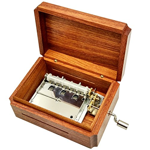 Burma Box - Wingostore 30 Notes Hand Crank Music Box Movement with Copper Gear DIY Make Your Music Tool Kit (with Burma padauk Box2)