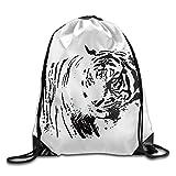 Wonderfly Men's White Tiger Summer Tank Hiking White Gym Bag Polyester Drawstring Bag