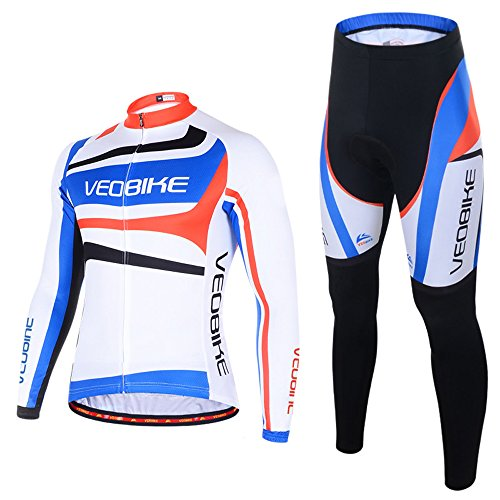 Oregon State Cycling Jersey (Ohmotor Men's Long Sleeve Cycling Suit Jersey Breathable Quick Dry Bicycle Riding Mountain Biking Clothes Set Sportswear 4D Cushion Padded Compression Pants - Blue, M)