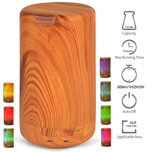 Price comparison product image Aroma Essential Oil Diffuser Therapy 125ML Mini USB Wood Grain Ultrasonic Humidifier Timing(30Min / 1H / 2H / 3H / Turn off ) Waterless Auto Shut-off with 7 color Light Changing for Home Office Baby Yoga Spa