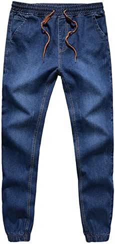 BULUOLANDI Men's Elastic Stretch Ripped Jogger Denim Pants