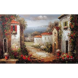 100% Hand Painted Mediterranean Tuscany Italy Town Homes Spring Flowers Canvas Home Wall Art Oil Painting by Well Known Artist, Framed, Ready to Hang