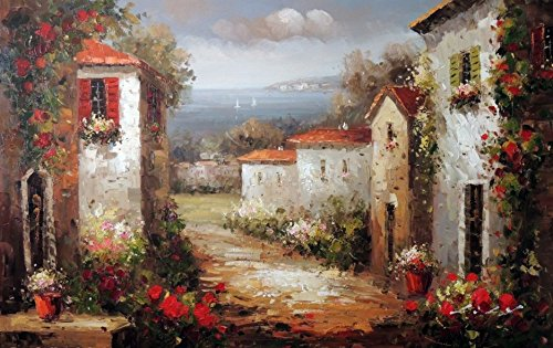 100% Hand Painted Mediterranean Tuscany Italy Town Homes Spring Flowers Canvas Home Wall Art Oil Painting by Well Known Artist, Framed, Ready to Hang (Tuscany Painting Oil)