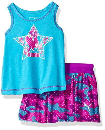 (PUMA Baby Girls Top & Tulle Skort Set, Blue Atoll, 12M)
