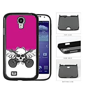 Skull And Acoustic Guitars In Pink Hard Plastic Snap On Cell Phone Case Samsung Galaxy S4 SIV I9500
