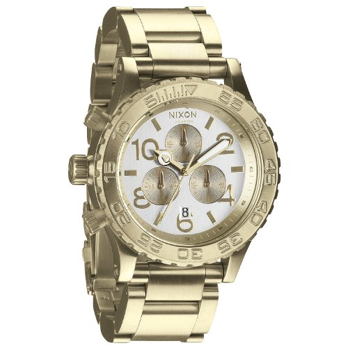 Dial Chronograph Champagne (Nixon 42-20 Chronograph Champagne Dial Gold-tone Mens Watch A037-1219)