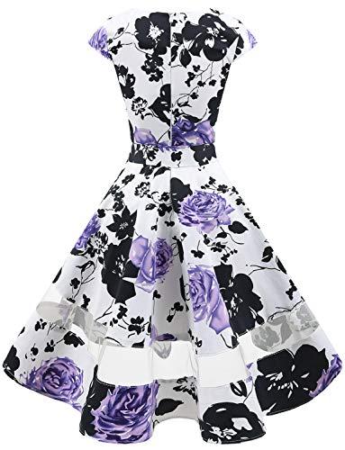 Da Vestito Retrò Polka Cocktail Flower Audery Swing Partito Rockabilly Corte White Maniche Gardenwed Lavender Con 1950 Annata Abito EIqYXY