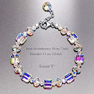 Susan Y Women Jewellery, A Little Romance Women Bracelet, Aurora Borealis Crystal from Swarovski, with Extender Chain, Antibacterial, Gift Wrapping, Best Gift for Women Girls