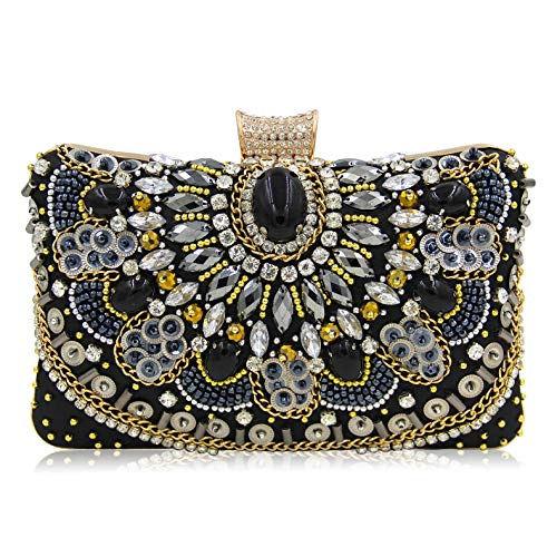 - Evening Clutch Bags Beads clutch Black Autumn new style women Crystal Rhinestone bag formal dress handbags