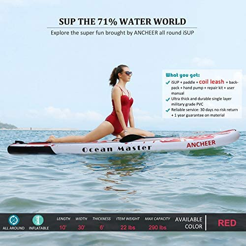 YUEBO Inflatable Stand Up Paddle Board, SUP Paddle Board for Beginner, Allround iSUP Boards Sup Boards with High-Pressure Pump, Coiled Leash, ...