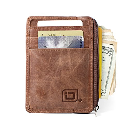 ID STRONGHOLD RFID Front Pocket Wallet Mini Minimalist Wallet Slim Wallet Genuine Leather with Zipper , Natural Brown , Small (Zippered Id Wallet)