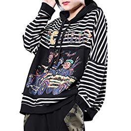 YESNO WN1 Women Casual Cartoon Hoodies Sweatshirts Striped Pullover Funny Patchwork Long Sleeve/Pockets