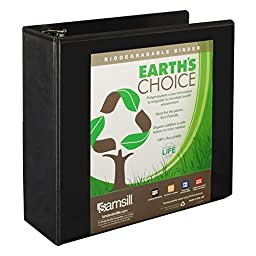Samsill Earth\'s Choice Biobased View Binder, 3 Ring Binder, 4 Inch, Round Ring, Customizable, Black