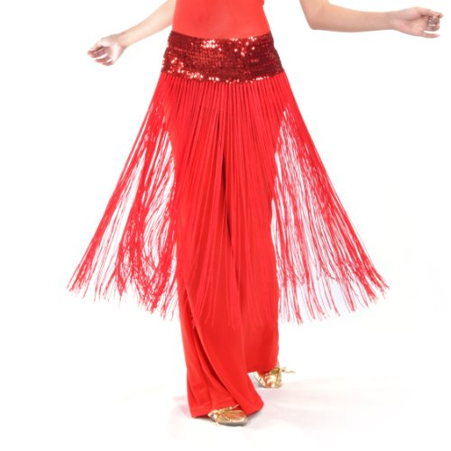 BellyLady Belly Dance Hip scarf, Sequined Fringe Skirt Wrap, Christmas Idea RED ()