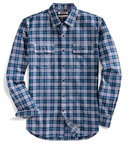 Goodthreads Mens Slim-Fit Long-Sleeve Plaid Twill Shirt, Blue Depths, Medium