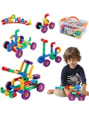 ZoZoplay STEM Learning Toy Tubular Pipes & Spouts & Joints 64 Piece Build Bicycle, Tank, Scootie, Moter Skills Endless Designs Educational Building Blocks Set for Kids Ages 3+, Multicolor