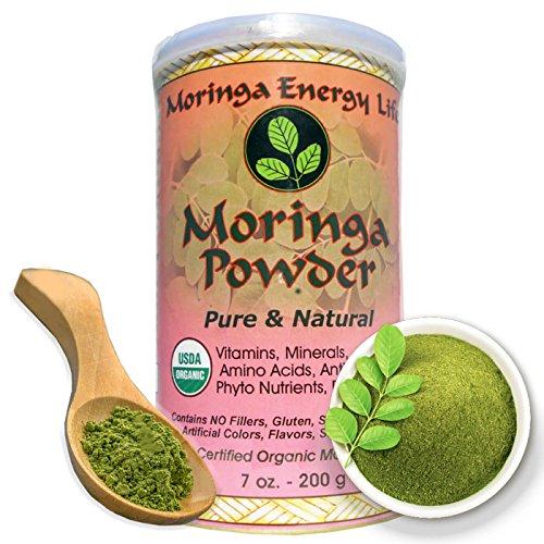 Moringa Leaf Powder 7oz. USDA Organic, Feel Energy & Health by ingesting this 100% Pure and Natural Raw/Organic Super Food. 50 Servings.