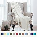 Flannel Fleece Luxury Blanket Ivory White Throw Lightweight Cozy Plush Microfiber Solid Blanket by Bedsure