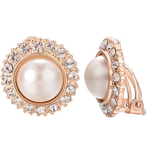 VOGEM Sunflower Jewelry Pearl Earrings For Women Wedding 18K Rose Gold Plated CZ Rhinestone Clip On Earrings ()