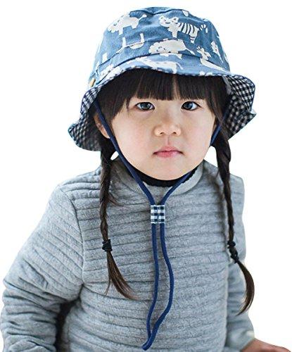 Feoya Chapeau de Soleil Enfant Garçon Bob à Motif Animal Pur Coton Bleu Foncé Chapeau de Seau avec Cordon de Serrage Tour 50CM