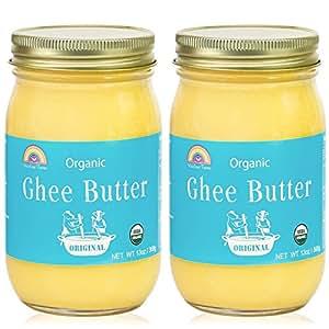 Grass-Fed Ghee Clarified Butter,Organic,Gluten-Free,Unsalted,USDA Certified by Rainbow Farms - Glass Jar (2pack)